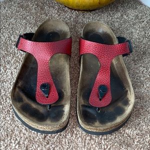Birkenstock SZ 38 Gizeh Red Leather Thong Sandals
